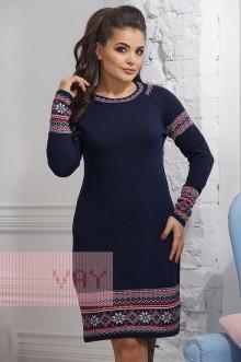 Платье женское 2266/1 Фемина (Темно-синий/белый/кармин)