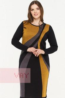 Платье женское 182-2308 Фемина (Черный/горчица/графит)