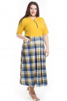 Платье 496 Luxury Plus (Желто-синий)