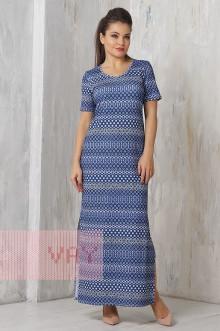 Платье женское 3274 Фемина (Орнамент цветок темно-синий)