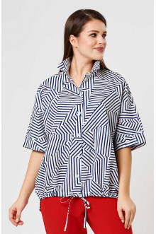 Блуза 4189 Лина (Белый, синий принт)