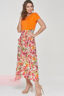 Платье женское 191-3482 Фемина (Оранжевый/маки)