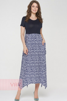 Платье женское 191-3482 Фемина (Темно-синий/мелкий цветок темно-синий)