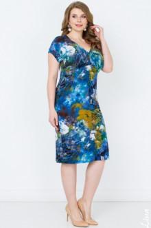 "Платье ""Любава"" Лина (Цветы бирюза)"