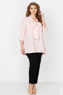 "Блуза ""Бант"" Лина (Горох белый на розовом)"