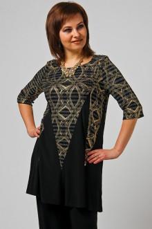 """Блуза """"СКС"""" 3083 (Черный-золотистый дизайн)"""