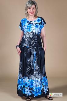 """Платье """"Дженни"""" Милада (Цветы синие)"""