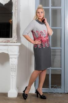 "Платье ""Номи-евро"" Zar Style (Серый/красный)"