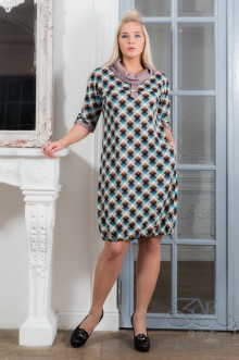 """Платье """"Нила"""" Zar Style (Бирюза/клетка)"""