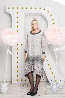 """Платье """"Грета"""" Zar Style (Серый/розовый)"""