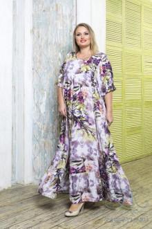 "Платье ""Моне"" Zar Style (Лиловый/цветы)"