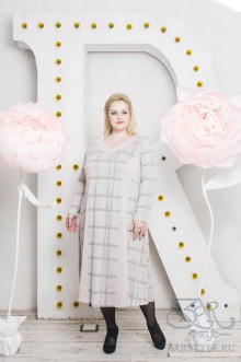 """Платье """"Радослава"""" Zar Style (Серый/розовый)"""