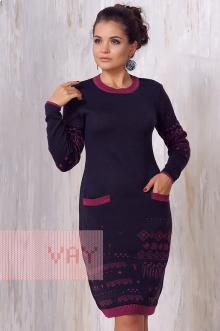 Платье женское 2170 Фемина (Мокрый асфальт/рубин)