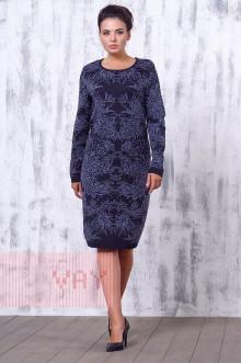 Платье женское 2174 Фемина (Мокрый асфальт/светлый джинс)