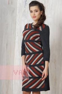 Платье женское 2192 Фемина (Темный антрацит/темная керамика/светлая верба)