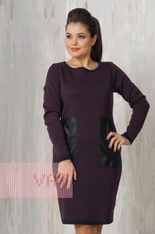 Платье женское 2182 Фемина (Мокрый асфальт/слива)
