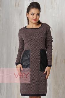 Платье женское 2182 Фемина (Мокрый асфальт/светлый кофе)