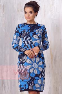 Платье женское 2165 Фемина (Мокрый асфальт/светло-серый/гжель)