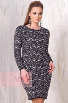 Платье женское 2166 Фемина (Черный/белый/серый)