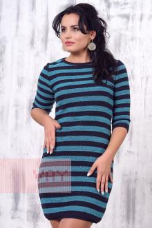 Платье женское 2157 Фемина (Мокрый асфальт/голубая бирюза)