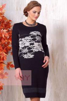 Платье женское 2089 Фемина (Черный/антрацит/лен)