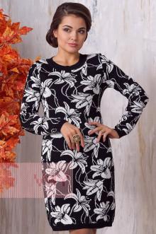 Платье женское 2139 Фемина (Черный/молоко)