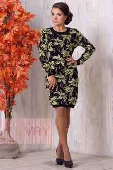Платье женское 2139 Фемина (Черный/яркая фисташка)