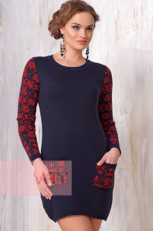 Платье женское 2090 Фемина (Темно-синий/алый)