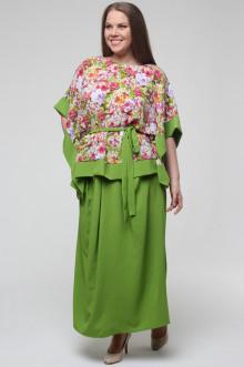 """Блуза """"Комильфо"""" Грация Стиля (Салатовый/Цветы)"""