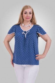 """Блуза """"Олси"""" 1310007.2 ОЛСИ (Горох белый на синем)"""