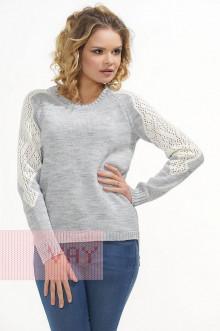 Джемпер женский 4621 Фемина (Светло-серый/молоко)