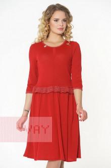 Платье женское 182-2324 Фемина (Красный/металнить сильвер)