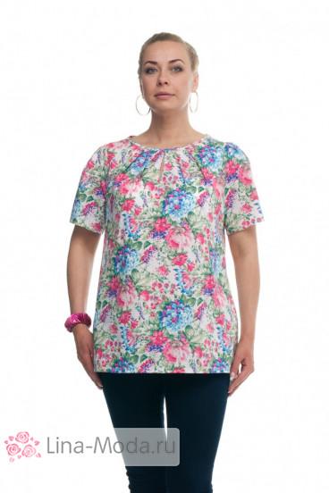 """Блуза """"Олси"""" 1610013/3 ОЛСИ (Цветы синий/розовый)"""